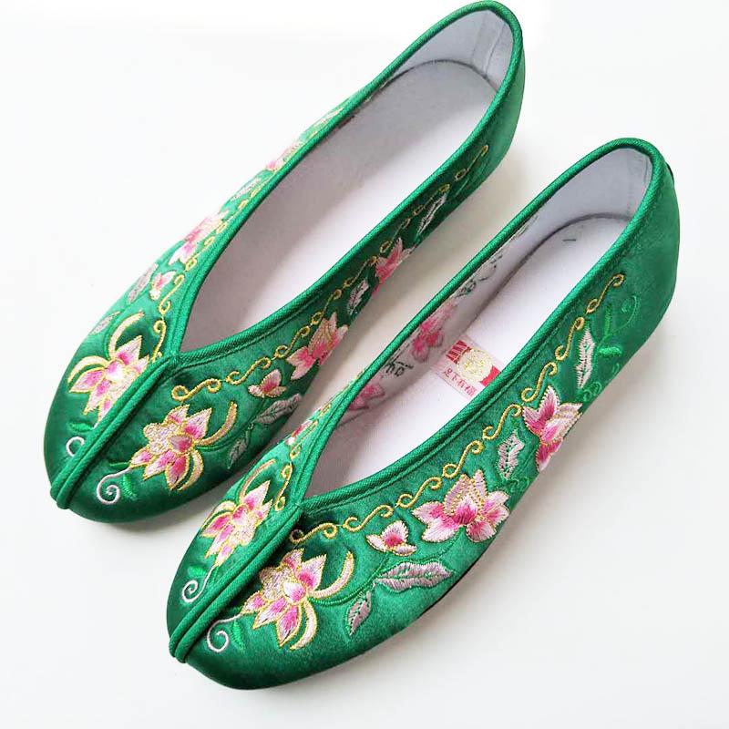 绿色平底鞋 大码中式婚鞋新娘刺绣古装鞋子民族风绣花鞋秀禾鞋子绿色平底902_推荐淘宝好看的绿色平底鞋