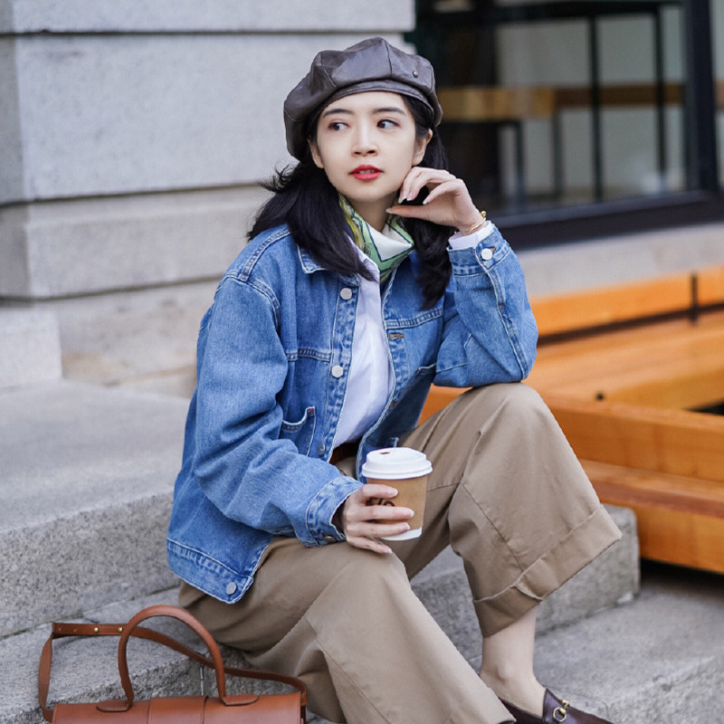 韩版休闲外套 三木穿搭秋装19年新款外套韩版酷的女装帅气牛仔衣休闲宽松夹克酷_推荐淘宝好看的女韩版休闲外套