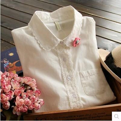 白衬衫 2020春秋装日系森女学院风棉麻上衣娃娃领长袖白女式衬衫女韩范_推荐淘宝好看的女白衬衫