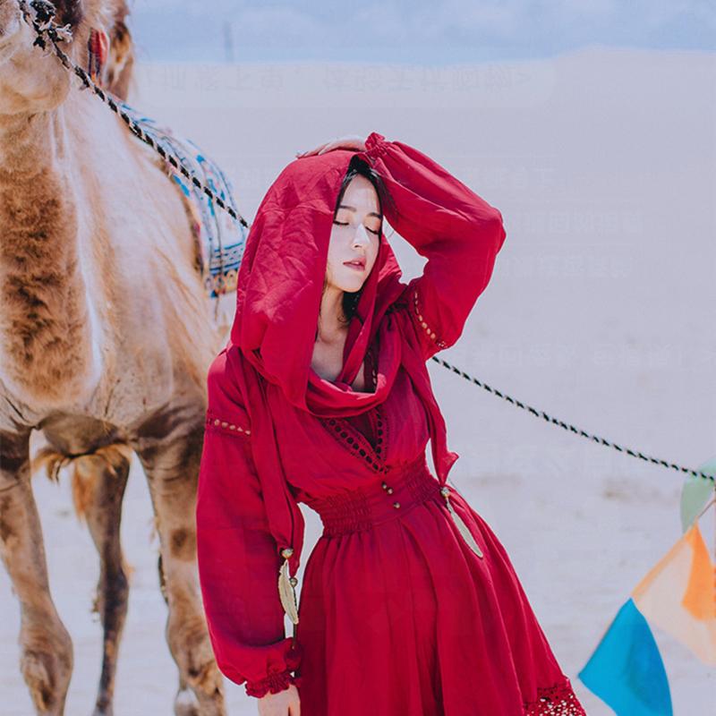 红色连衣裙 西藏旅游衣服女云南丽江民族风红色连衣裙青海湖拍照长裙沙漠红裙_推荐淘宝好看的红色连衣裙