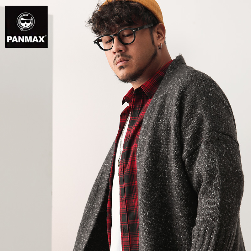 男士长款毛衣 PANMAX男士毛衣 长款开衫男韩版休闲外套冬季加厚肥佬大码线衣_推荐淘宝好看的男长款毛衣