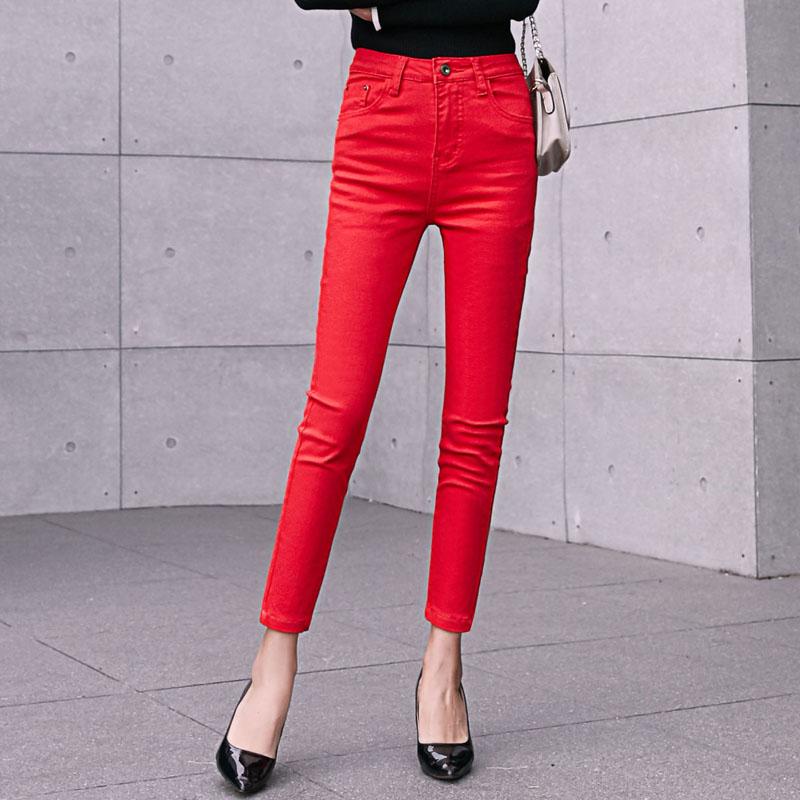 红色牛仔裤 2021年春夏款大红色牛仔裤女九分裤小脚韩版弹力修身显瘦铅笔裤_推荐淘宝好看的红色牛仔裤