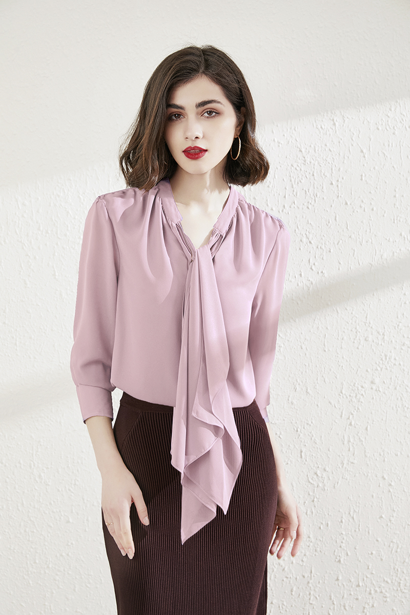 紫色雪纺衫 出口han国2021轻奢蝴蝶结衬衫衣宽松雪纺衫紫色垂感上衣女加大码_推荐淘宝好看的紫色雪纺衫