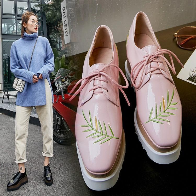 粉红色松糕鞋 韩版树枝松糕鞋女厚底单鞋方头小皮鞋防水台高跟真皮系带黑粉红色_推荐淘宝好看的粉红色松糕鞋