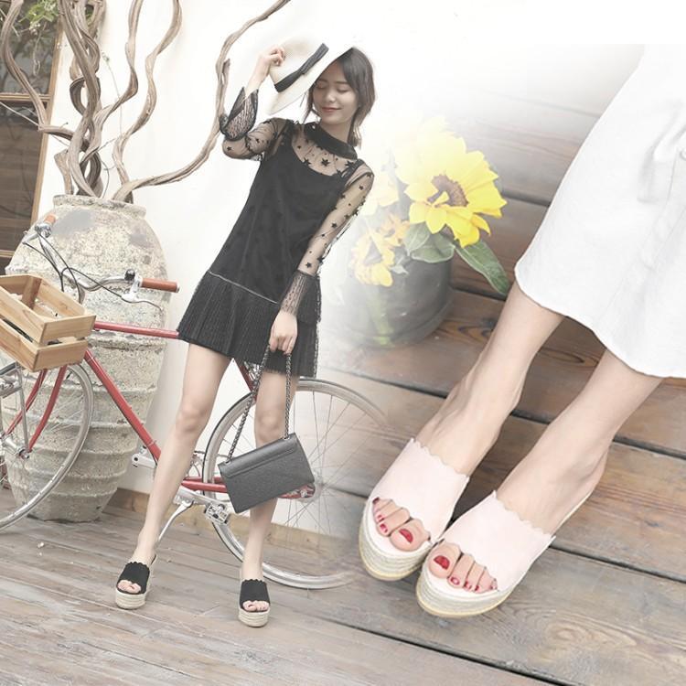粉红色松糕鞋 韩版坡跟拖鞋女夏厚底松糕防水台真皮一字拖百搭草编平底黑粉红色_推荐淘宝好看的粉红色松糕鞋