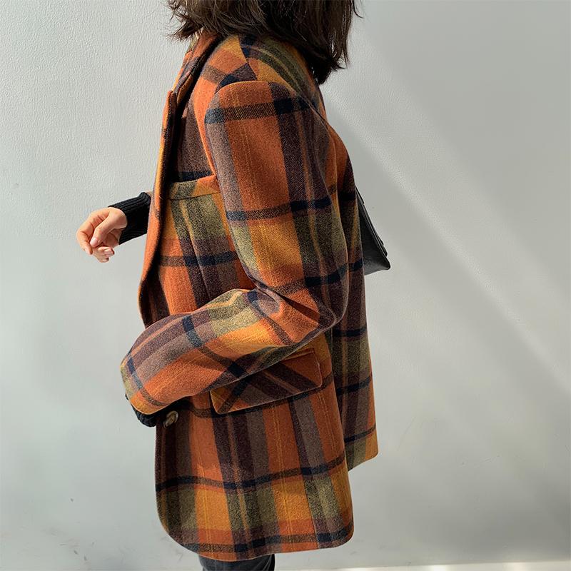 毛呢韩版外套 复古大格子毛呢西装外套女秋冬2020新款韩版宽松廓形小西服上衣_推荐淘宝好看的女毛呢韩版外套