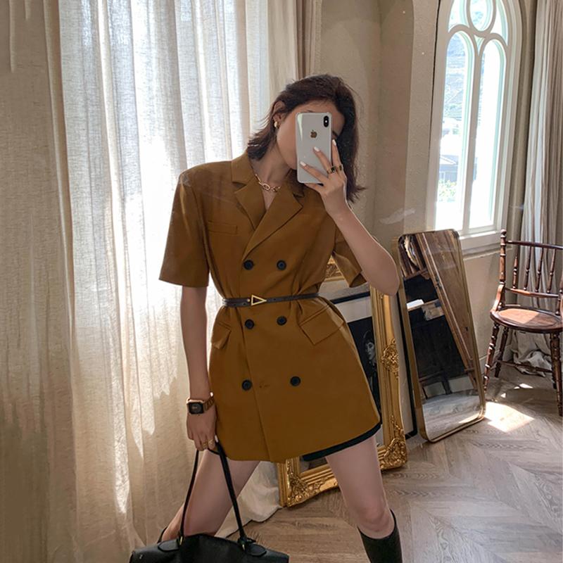 短袖小西装 飒纳黑色小西装女夏2021新款设计感韩版宽松休闲薄款短袖西服外套_推荐淘宝好看的女短袖小西装