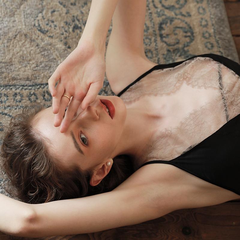 睡裙 晚安时光内衣性感睡衣深v吊带黑色露背蕾丝睡裙女夏季家居服薄款_推荐淘宝好看的睡裙
