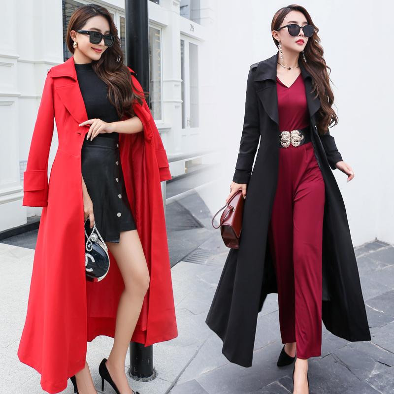 女士风衣外套 时尚修身大气超长款风衣女春秋装大红色通勤显瘦大摆加长风衣外套_推荐淘宝好看的女风衣外套