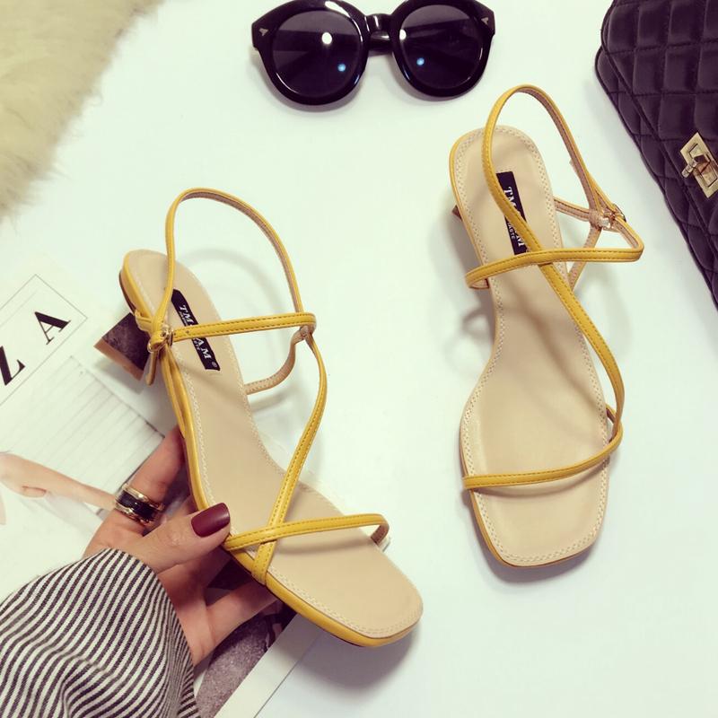 黄色凉鞋 2019新款夏款黄色一字带凉鞋女仙女风气质百搭粗跟性感网红中跟鞋_推荐淘宝好看的黄色凉鞋