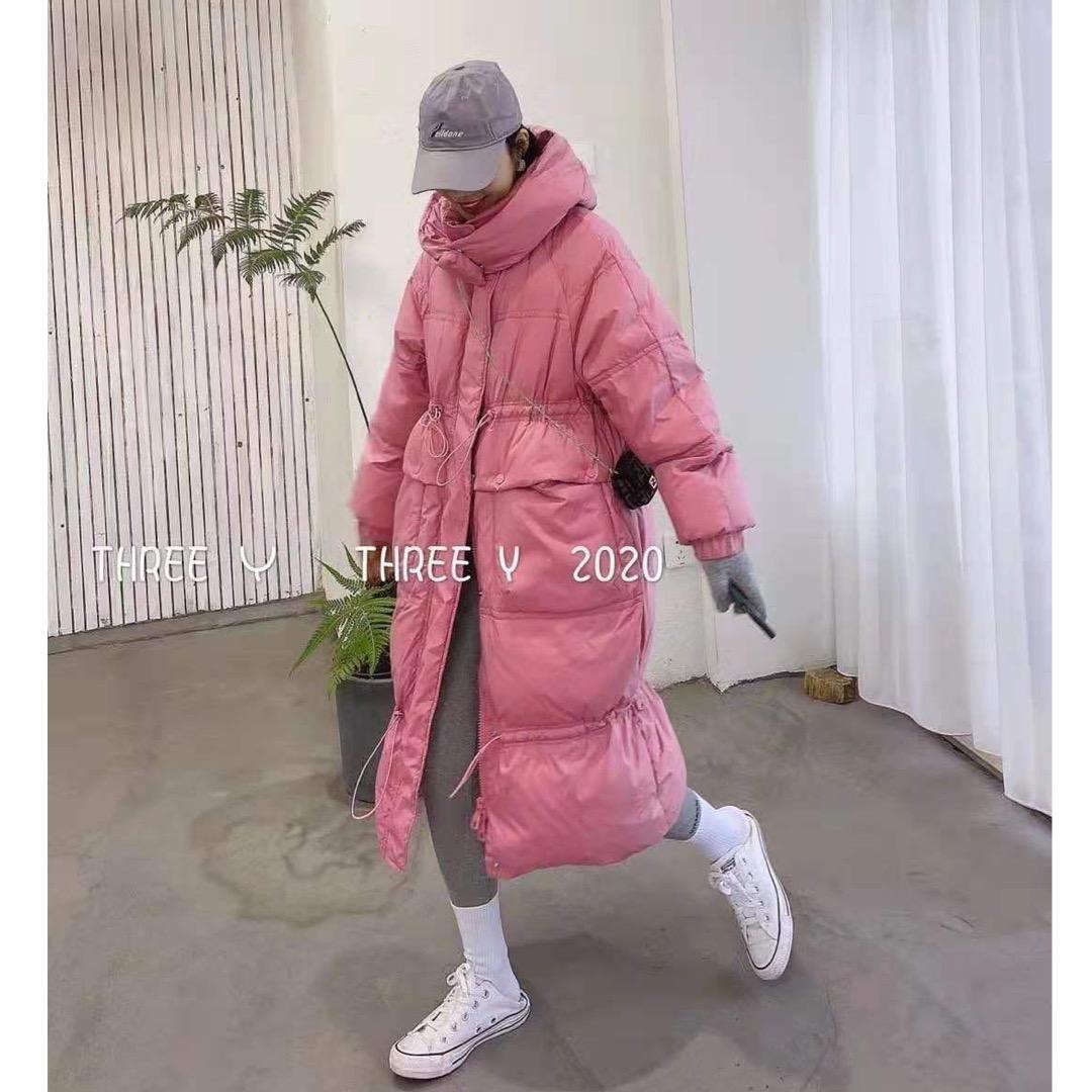 粉红色羽绒服 90白鸭绒羽绒服女2021冬季新款韩版连帽宽松中长款粉红色羽绒外套_推荐淘宝好看的粉红色羽绒服