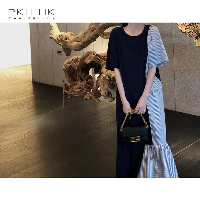 夏季条纹连衣裙 PKH.HK 夏季新品 轻松时髦 不对称条纹拼接针织棉长连衣裙_推荐淘宝好看的夏条纹连衣裙