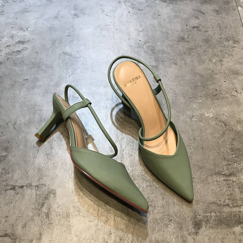 绿色凉鞋 包头凉鞋女2019新款时尚透气镂空绑带尖头细跟高跟鞋显瘦百搭绿色_推荐淘宝好看的绿色凉鞋