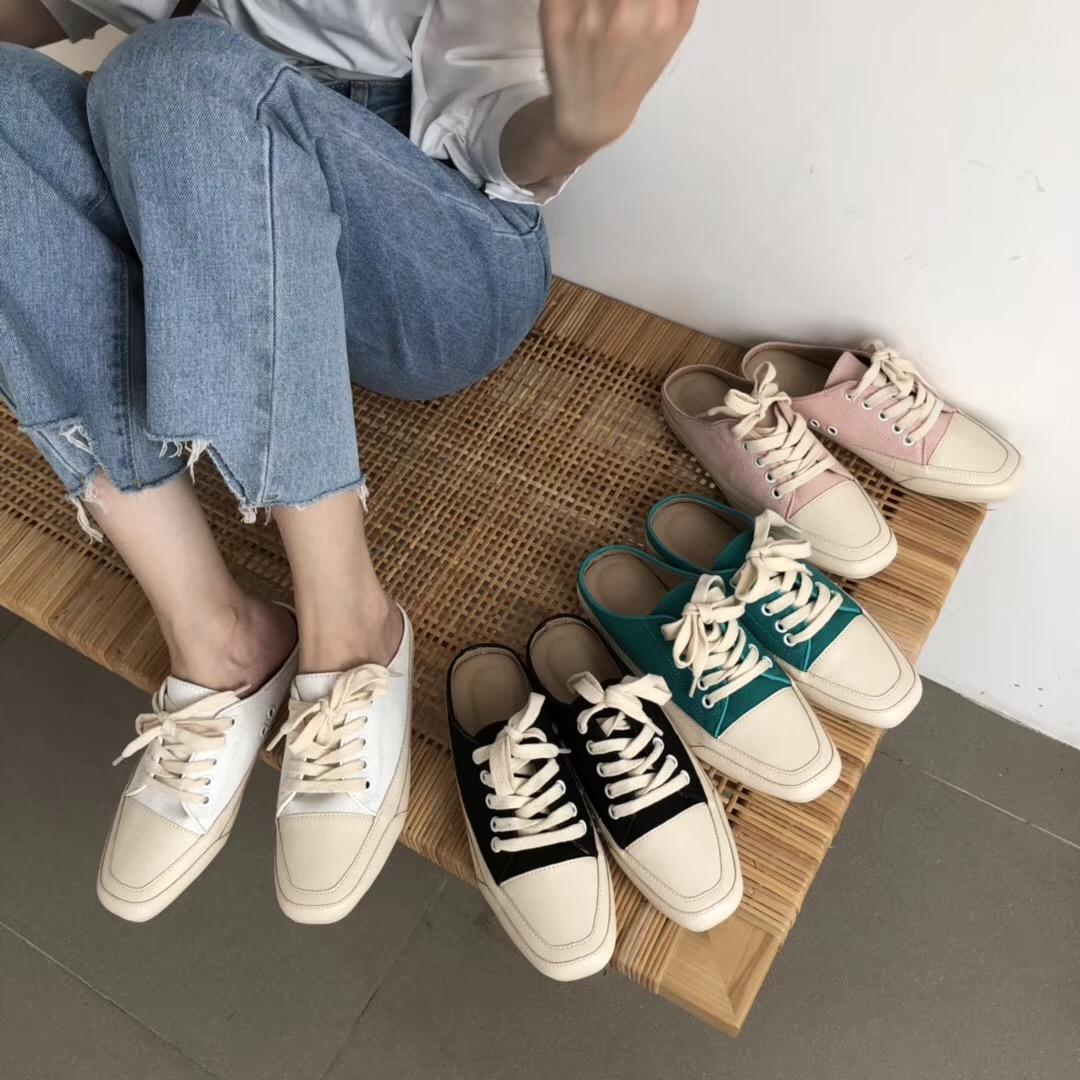 粉红色平底鞋 女鞋方头懒人鞋帆布鞋百搭单鞋韩版低跟粉红色白色黑色平底低帮鞋_推荐淘宝好看的粉红色平底鞋