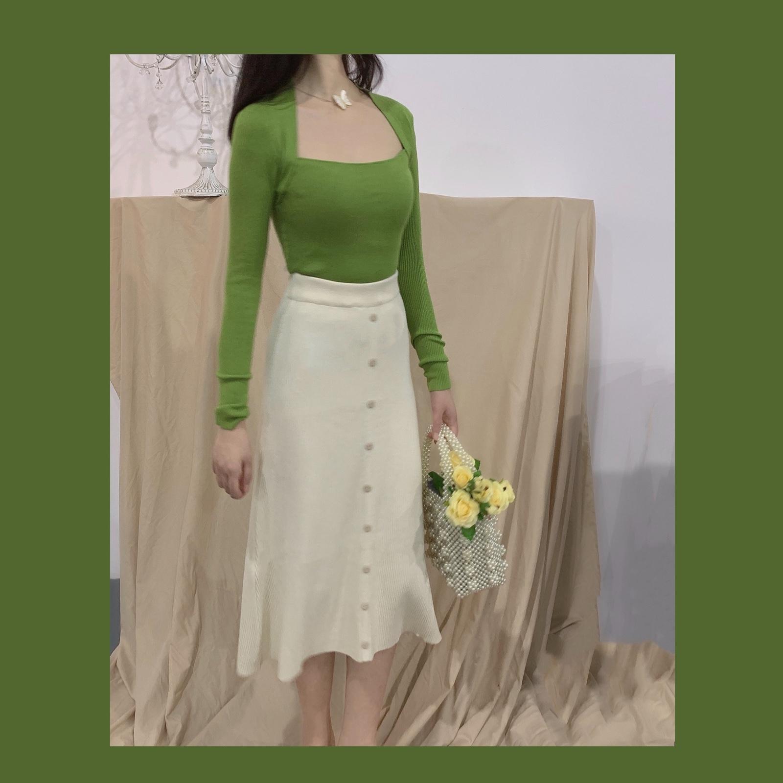 绿色针织衫 晚时光柔软显白斜方领绿色长袖针织衫_推荐淘宝好看的绿色针织衫