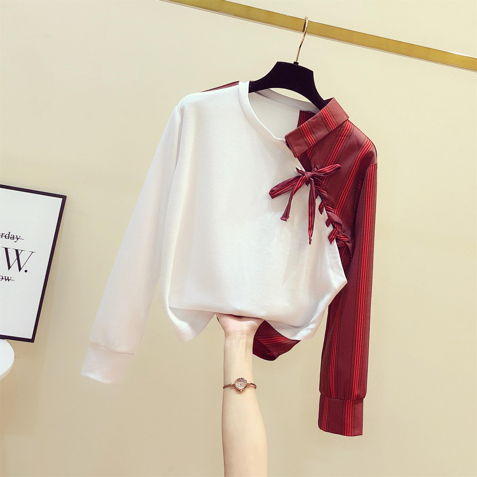 长袖女衬衫 假两件卫衣女2020春装新款韩版拼接不规则条纹衬衫休闲长袖上衣潮_推荐淘宝好看的女长袖女衬衫