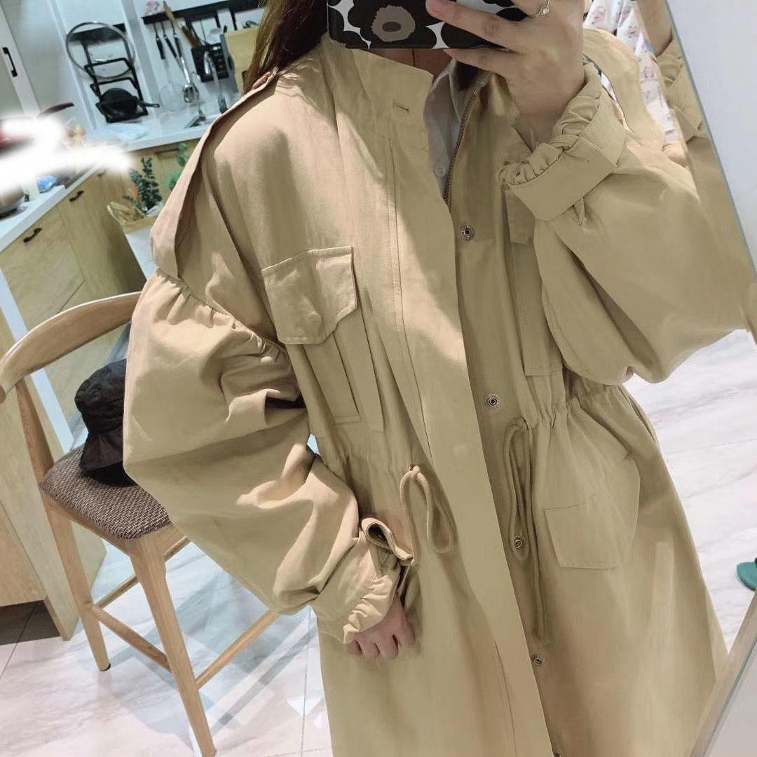 立领风衣 韩国2020新款女韩版气质立领泡泡袖中长款抽绳风衣女简约百搭外套_推荐淘宝好看的女立领风衣
