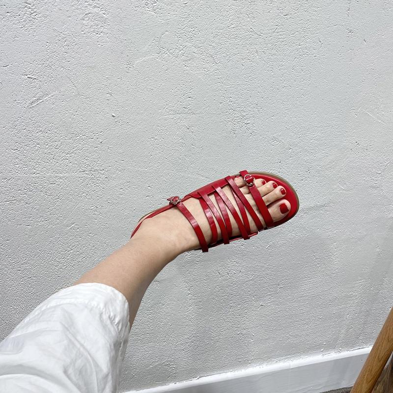 红色罗马鞋 阿马司2021新款夏欧美凉鞋女平底时尚百搭细带红色罗马真皮女鞋子_推荐淘宝好看的红色罗马鞋