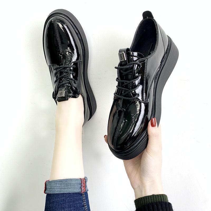 韩版松糕鞋 春英伦松糕厚底单鞋女2020新款韩版百搭增高复古小皮鞋系带休闲鞋_推荐淘宝好看的女韩版松糕鞋