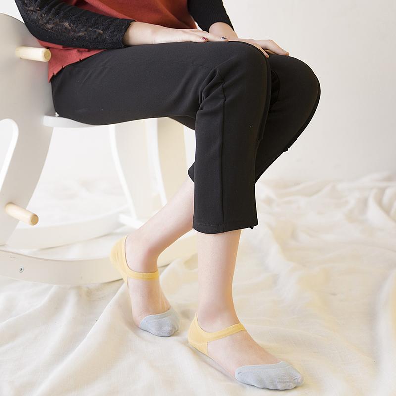 糖果色短丝袜 玻璃卡丝半棉质船袜女超薄透明水晶丝袜隐形袜糖果色拼色透气短袜_推荐淘宝好看的糖果色短丝袜
