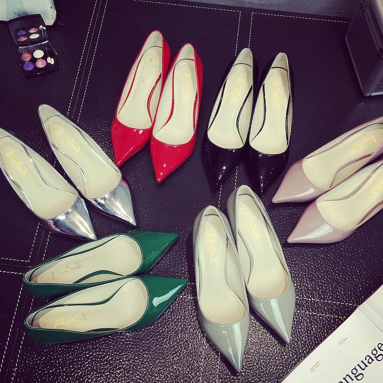 红色尖头鞋 2020新款银色细跟尖头高跟鞋真皮中跟低跟猫跟单鞋女红色婚鞋5cm_推荐淘宝好看的红色尖头鞋