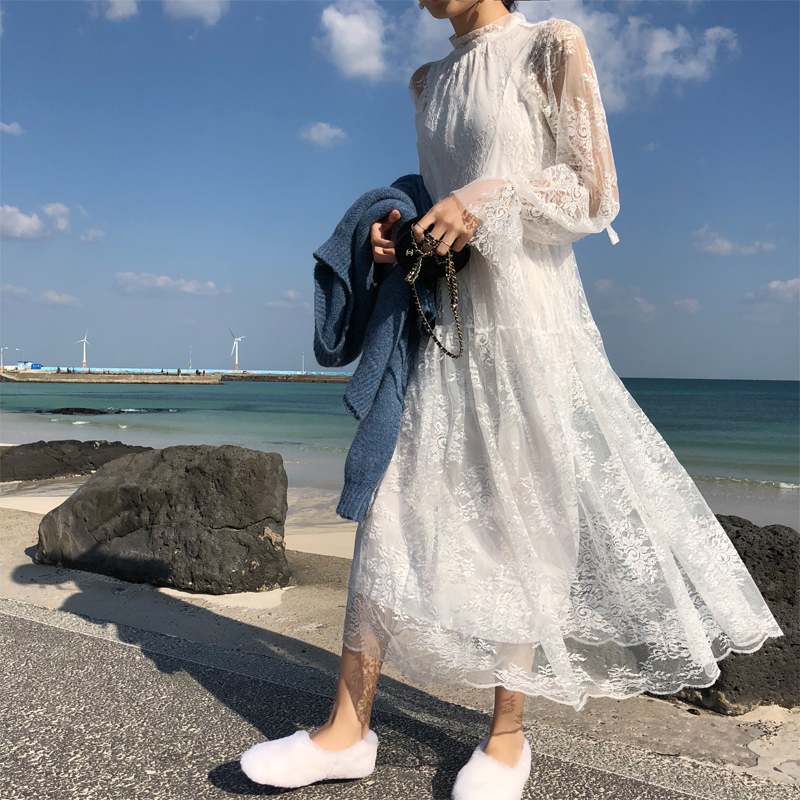 白色蕾丝连衣裙 YUGOO连衣裙女春2020款裙子半高领韩版白色中长款气质蕾丝裙_推荐淘宝好看的白色蕾丝连衣裙