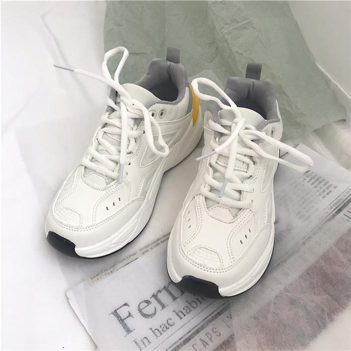 白色厚底鞋 2020年新款韩版ulzzang白色加绒运动鞋女学生百搭厚底老爹鞋ins潮_推荐淘宝好看的白色厚底鞋