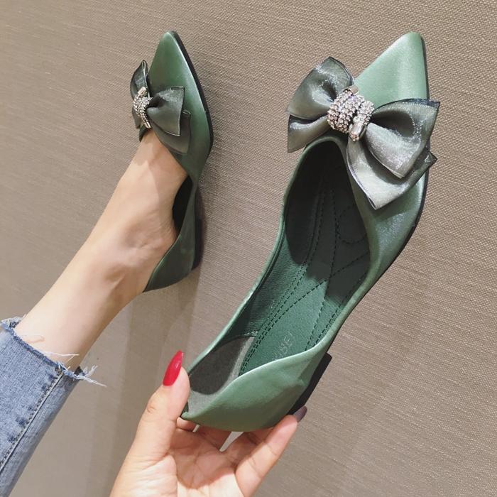 水钻平底尖头鞋 欧美风2021春夏季新款女鞋子大码蝴蝶结水钻尖头浅口平底平跟单鞋_推荐淘宝好看的水钻平底尖头鞋