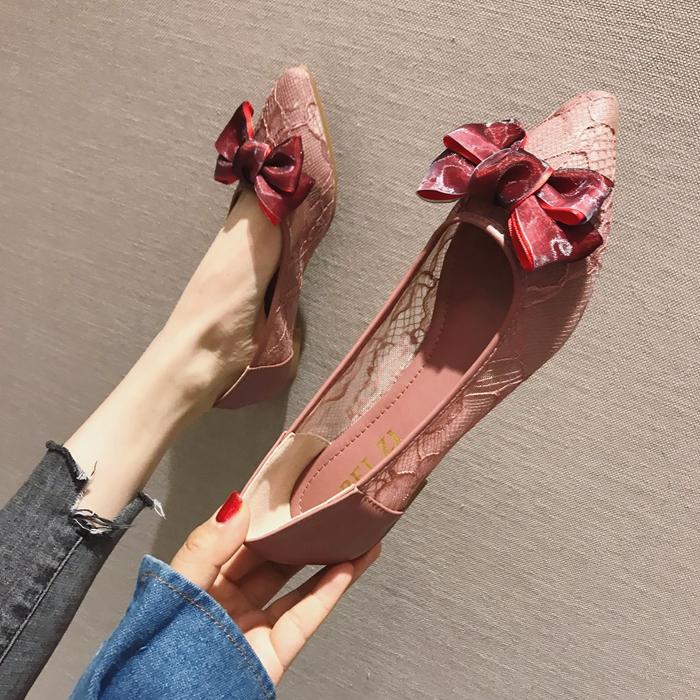 欧美款尖头鞋 欧美风2021春夏季大码新款女鞋子蝴蝶结网状浅口尖头平跟平底单鞋_推荐淘宝好看的欧美尖头鞋