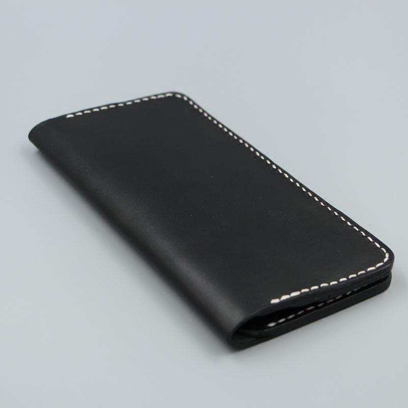 黑色钱包 手工皮具 手缝 升级版 植鞣头层牛皮 黑色简约多卡位长款钱包 夹_推荐淘宝好看的黑色钱包