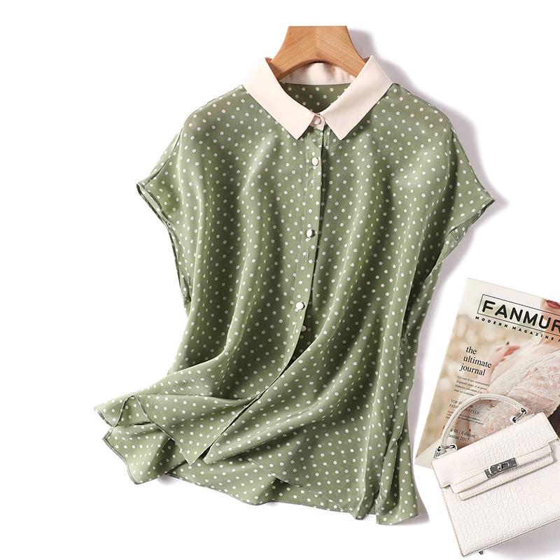 波点衬衫 真丝上衣女短袖法式波点印花衬衫2021夏季新款气质撞色桑蚕丝衬衣_推荐淘宝好看的女波点衬衫