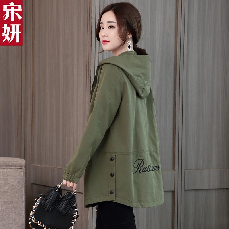 绿色风衣 风衣女中长款2021春秋季韩版时尚新款女装休闲上衣军绿色外套大码_推荐淘宝好看的绿色风衣