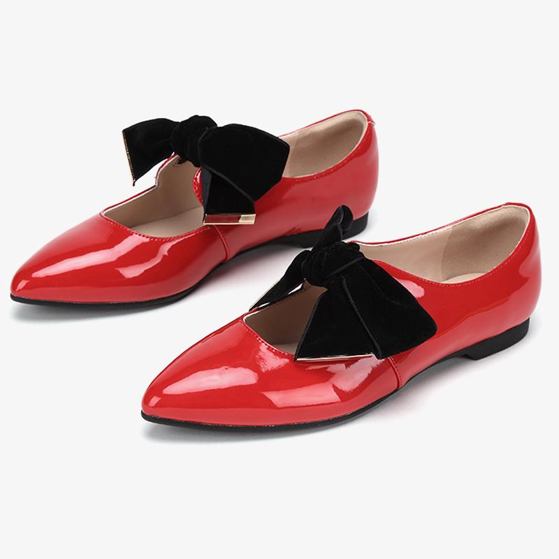 达芙妮单鞋 Daphne达芙妮旗下鞋柜系列春尖头漆面天鹅绒蝴蝶结中空单鞋女_推荐淘宝好看的女达芙妮单鞋