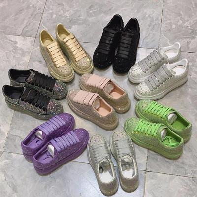 紫色松糕鞋 欧洲站2021春季新款彩色满钻女鞋紫色麦昆达水钻厚底松糕鞋运动鞋_推荐淘宝好看的紫色松糕鞋