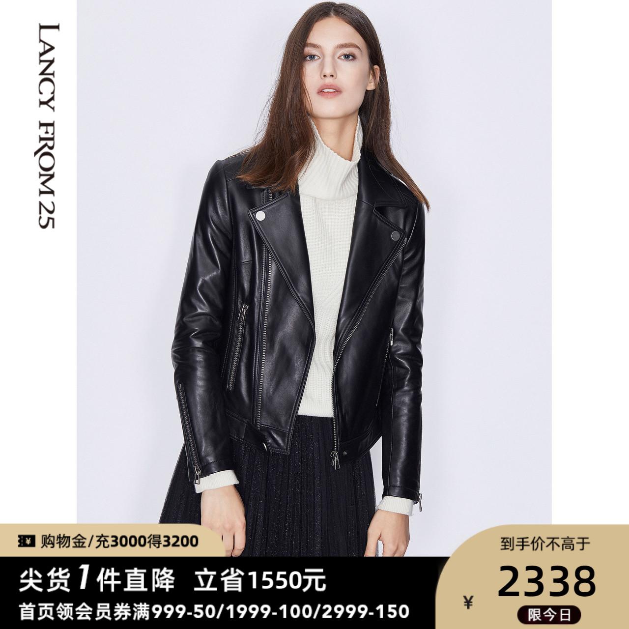 黑色皮衣 朗姿商场同款皮夹克春装新款女装黑色外套短款西装领皮衣_推荐淘宝好看的黑色皮衣