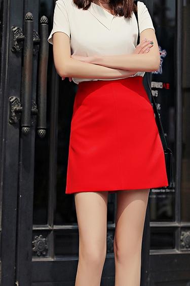 红色半身裙 春夏百搭西装料正红色高腰半身裙 小黑裙A字包臀裙显瘦职业短裙女_推荐淘宝好看的红色半身裙