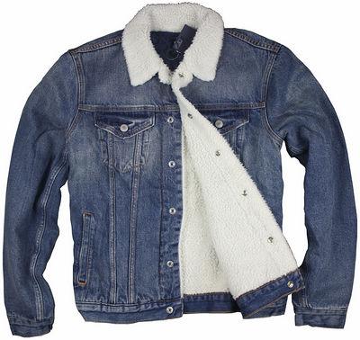 牛仔夹克 2外贸欧美出口品牌G家 男装加厚仿羊羔绒深蓝色水洗牛仔外套夹克_推荐淘宝好看的男牛仔夹克
