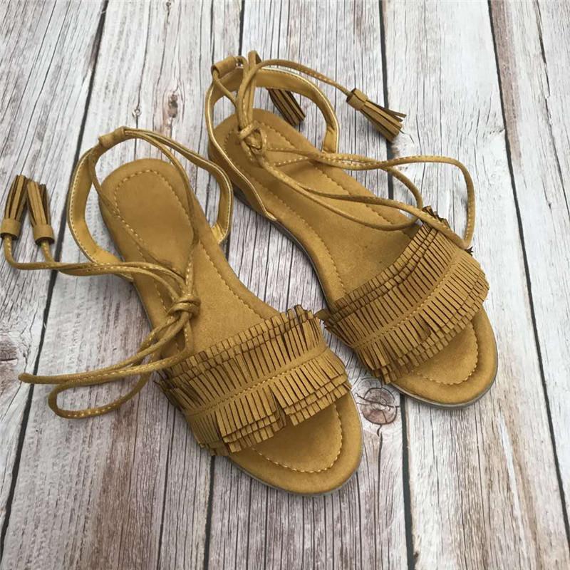 黄色罗马鞋 2020夏季新款露趾平底黄色流苏绑带凉鞋女罗马风格网红同款百搭_推荐淘宝好看的黄色罗马鞋