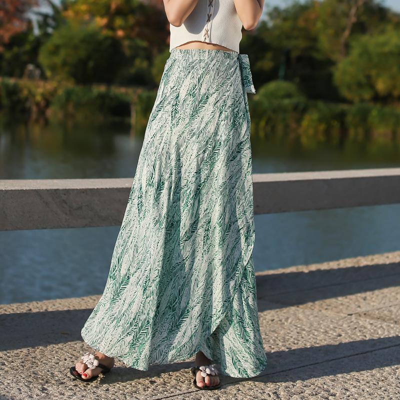 绿色雪纺半身裙搭配 一片式清新雪纺半身裙2020夏装新款休闲度假绑带长裙防晒沙滩裙潮_推荐淘宝好看的绿色雪纺半身裙