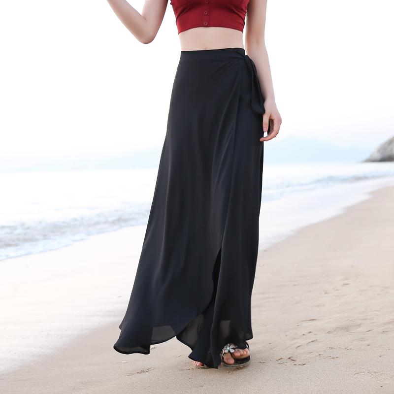黄色半身裙 夏天纯色百搭雪纺海边度假沙滩裙一片式ins超火裙子半身裙长裙女_推荐淘宝好看的黄色半身裙