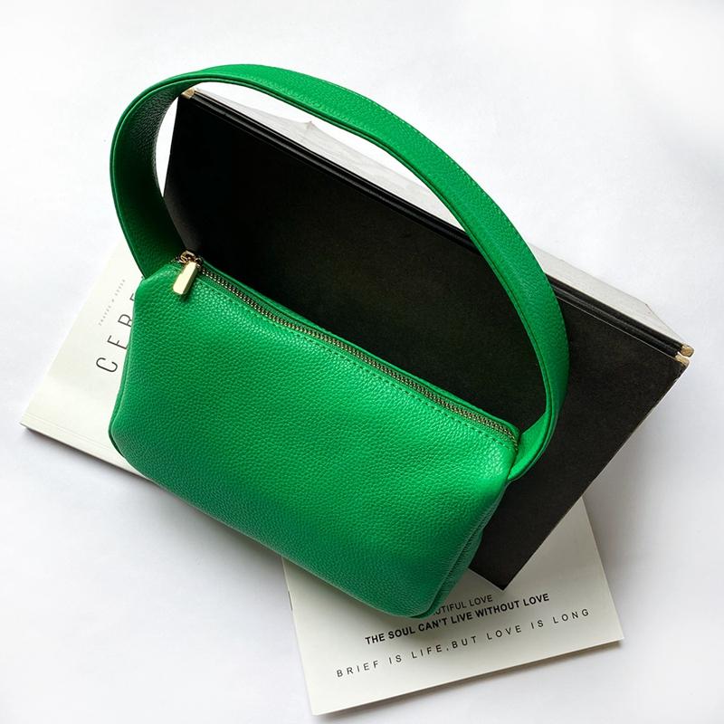 绿色信封包 小众设计软牛皮绿色腋下包手提包纯色法式简约港风百搭信封小方包_推荐淘宝好看的绿色信封包