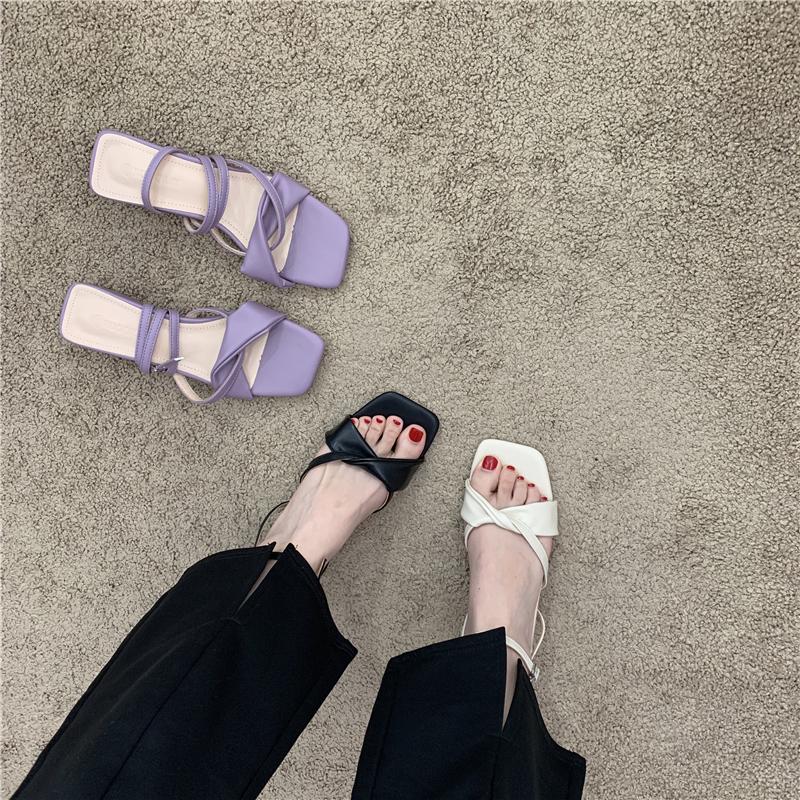 紫色鱼嘴鞋 低跟法式温柔凉鞋女仙女风2021春夏季露趾两穿高跟鞋拖鞋外穿紫色_推荐淘宝好看的紫色鱼嘴鞋