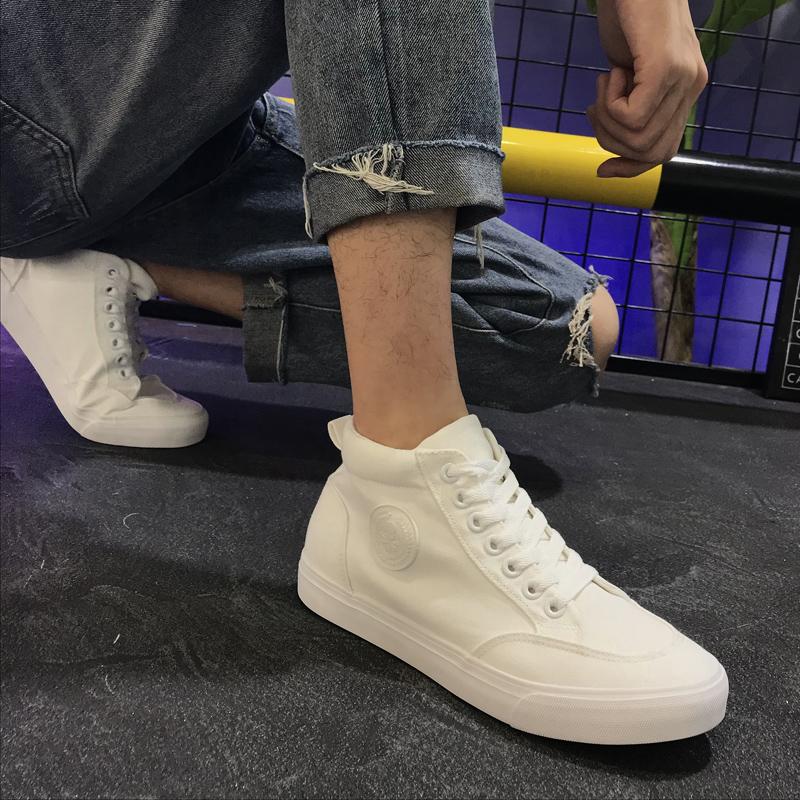 白色帆布鞋 高帮帆布鞋男士小白鞋2019新款韩版潮鞋透气休闲白色板鞋百搭男鞋_推荐淘宝好看的白色帆布鞋