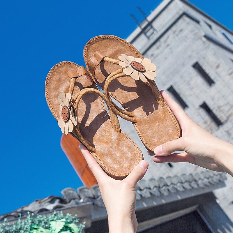 罗马平底鞋 波西米亚风2018新款夏季平底夹趾罗马凉拖女外穿学生孕妇防滑凉鞋_推荐淘宝好看的女罗马平底鞋
