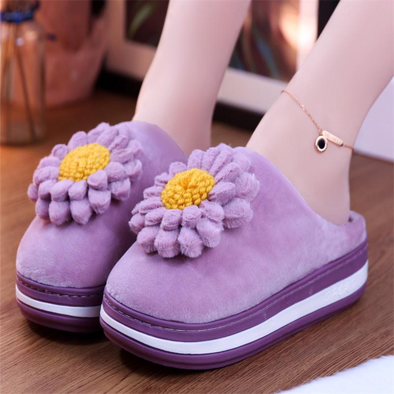 紫色坡跟鞋 冬季紫色花朵拖鞋高跟棉拖鞋女冬增高坡跟家居室内防滑保暖棉拖冬_推荐淘宝好看的紫色坡跟鞋