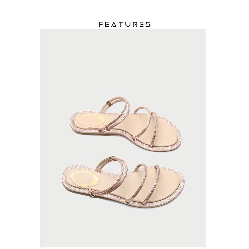 水钻平底罗马鞋 Features 转角遇见~夏新款水钻平底拖鞋女一字带露趾平跟罗马凉鞋_推荐淘宝好看的女水钻平底罗马鞋