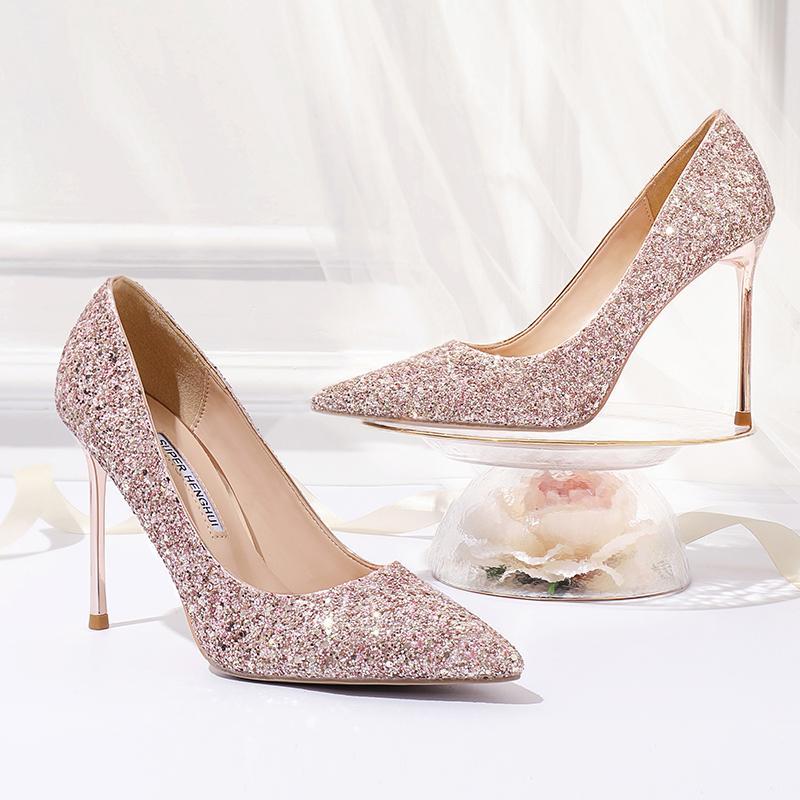 红色尖头鞋 婚鞋女2020新款亮片超高跟鞋女细跟单鞋尖头水晶礼服金红色新娘鞋_推荐淘宝好看的红色尖头鞋