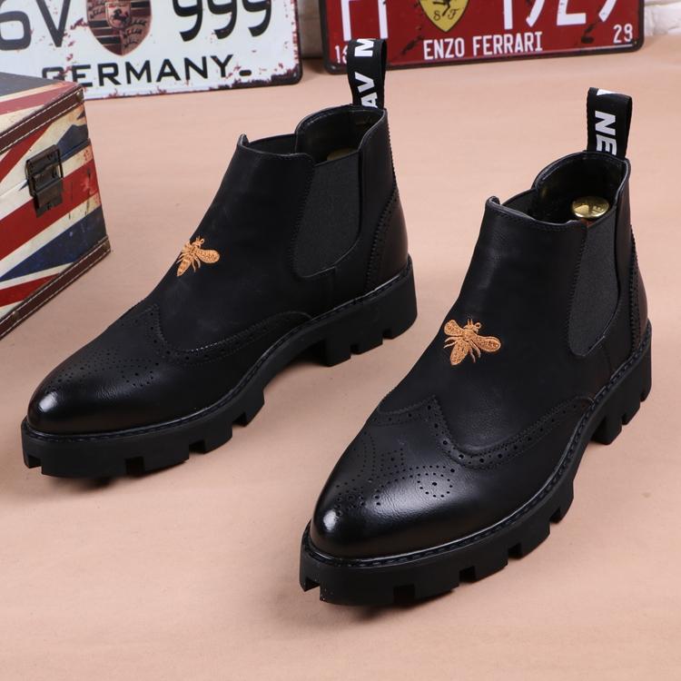 尖头短靴 冬季男士皮靴子尖头马丁靴加绒英伦短靴厚底增高发型师高帮皮鞋潮_推荐淘宝好看的尖头短靴