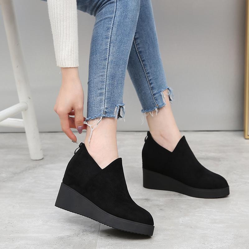 黑色坡跟鞋 内增高坡跟春秋新款黑色百搭深口尖头女时尚女高跟单鞋鞋福女乐_推荐淘宝好看的黑色坡跟鞋