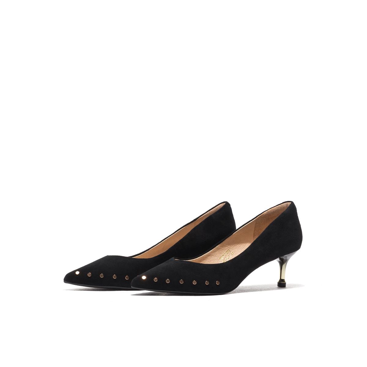 星期六尖头鞋 St&Sat星期六高跟鞋女2020新款铆钉尖头细跟单鞋SS01111572_推荐淘宝好看的女星期六尖头鞋